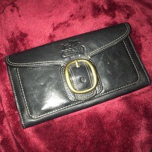 Coach leather trifold large wallet